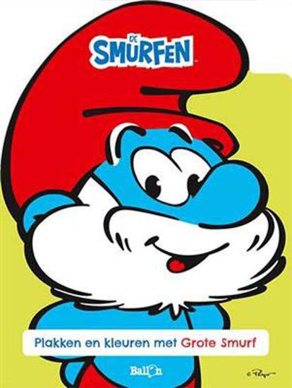 Afbeelding van Smurfen - Plakken en kleuren met grote smurf (BALLON, zachte kaft)
